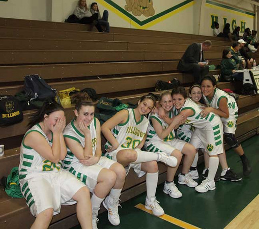 freshman girls on bench