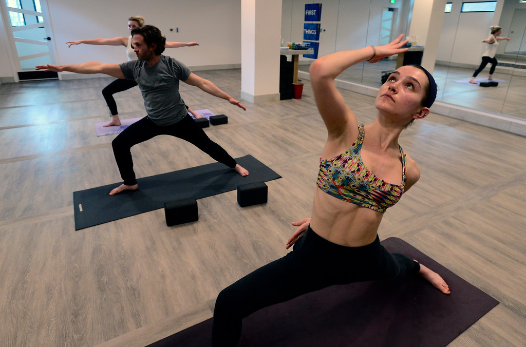 . Sophie Numberg in Bulldog Yoga\'s Invigorate class on Monday March 5. For more photos go to dailycamera.com. Paul Aiken Staff Photographer March 5 2018