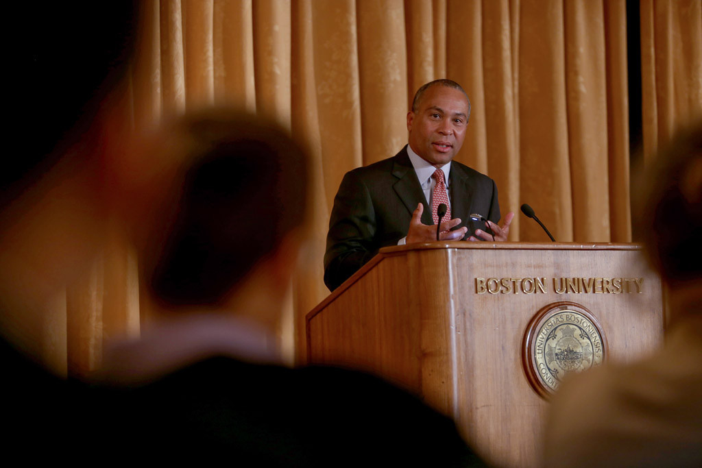 March 24, 2015 - Mass. Gov. Deval Patrick speaks at the Leading Cities Through Crisis: Lessons from the Boston Marathon conference held by the Boston University Initiative on Cities, at the Metcalf Trustee Center Ballroom in Boston, Mass. Photo by Jun Tsuboike/BU News Serivce.
