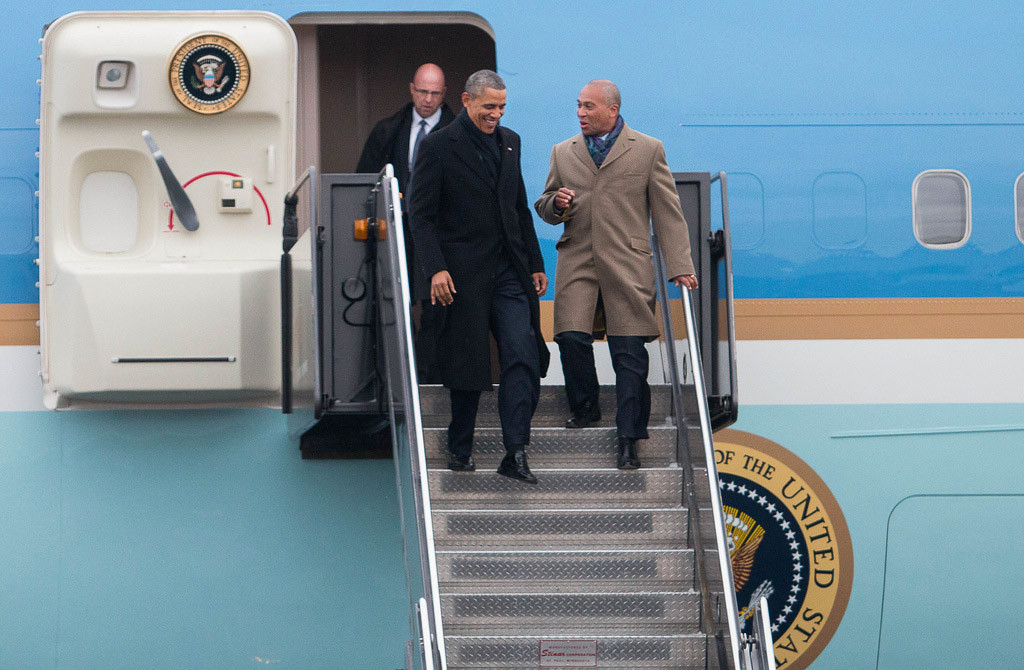 March 5, 2014 - President Obama and Mass. Gov. Deval Patrick exit Air Force One at Boston Logan Airport's Amelia Earhart Terminal in Boston, Mass. at 4:40pm on March 5, 2014.  Phot by Taylor Hartz/BU News Service.
