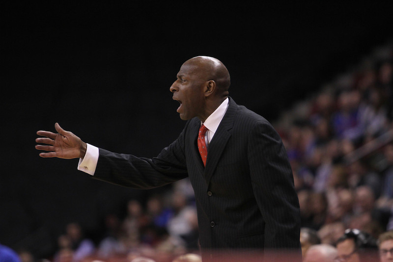 March 11, 2014 - Head coach of the Boston University men's basketball team, Joe Jones calls out to his players during the Patriot League's Championship game at Agganis Arena in Boston, Mass. American University men's basketball beat Boston University men's basketball 55-36. Photo: Grace Donnelly/BU News Service.