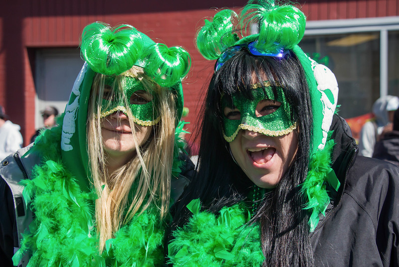 March 16, 2014 -Danielle Guillette, right, and Karen Nardone, left, celebrate near Andrew Station at the St. Patrick's Day parade in South Boston. Photo:  Carolyn Bick/BU News Service.