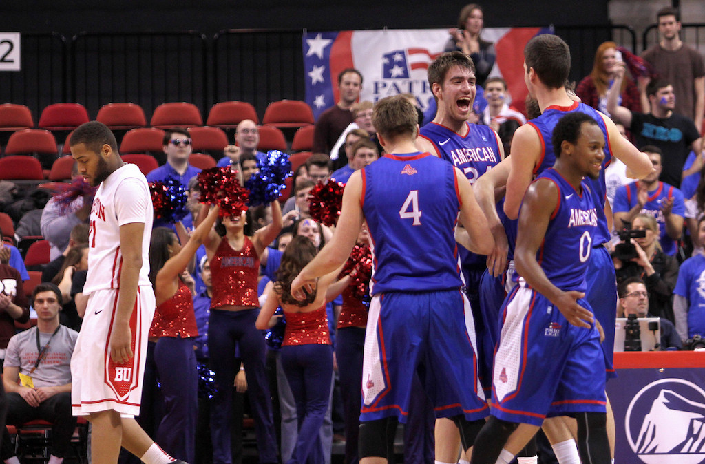 March 11, 2014 -American University Men's basketball player, Tony Wroblicky celebrates at the end of the Patriot League's Championship game at Agganis Arena in Boston, Mass. American University men's basketball beat Boston University men's basketball 55-36. Photo: Grace Donnelly/BU News Service.