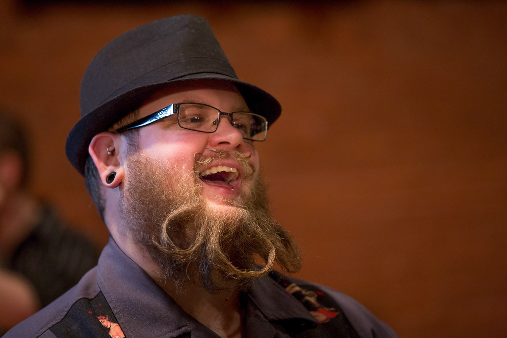 Feb. 2, 2014 - Dwayne Quimby from Raynham, Mass. talks with event attendees at Beardfest, a facial hair competition in Sommerville, Mass. Photo by Justin Saglio/BU News Service.