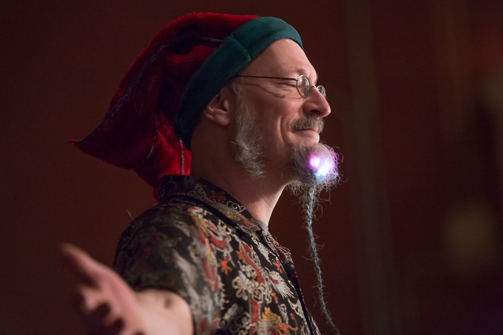 Feb. 2, 2014 - Doug Ruuska shows off a beard featuring blinking LED lights during competition at Beardfest, a facial hair competition in Sommerville, Mass. Photo by Justin Saglio/BU News Service.