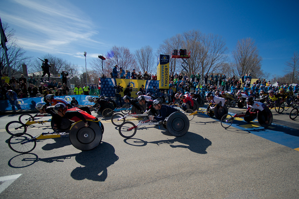 April 21, 2014 - The wheelchair portion of the race begins at the starting line of the Boston Marathon in Hopkinton, Mass. Photo by Andrew Prince/BU News Service.