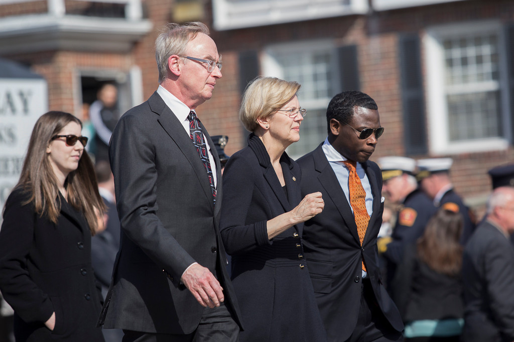 April 2, 2014 – United States Sen. Elizabeth Warren (D-Mass.) arrives at the P.E. Murray Funeral Home at 2000 Centre St., in Boston, Mass., to attend the wake for Firefighter Michael Kennedy who was killed while responding to a nine-alarm fire in Boston last week. Photo by Jun Tsuboike/BU News Service.