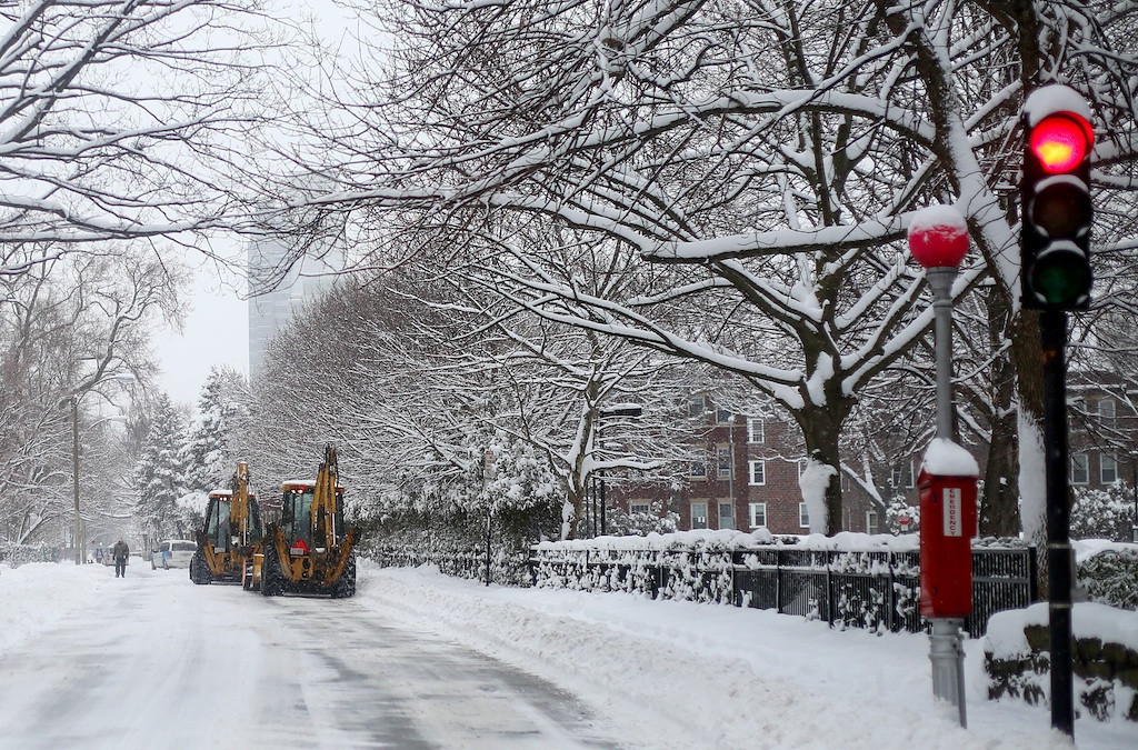 February 5, 2014 -Plows drive on Babcock St. in Brookline, Mass. during a snow storm. Photo: Grace Donnelly/BU News Service.