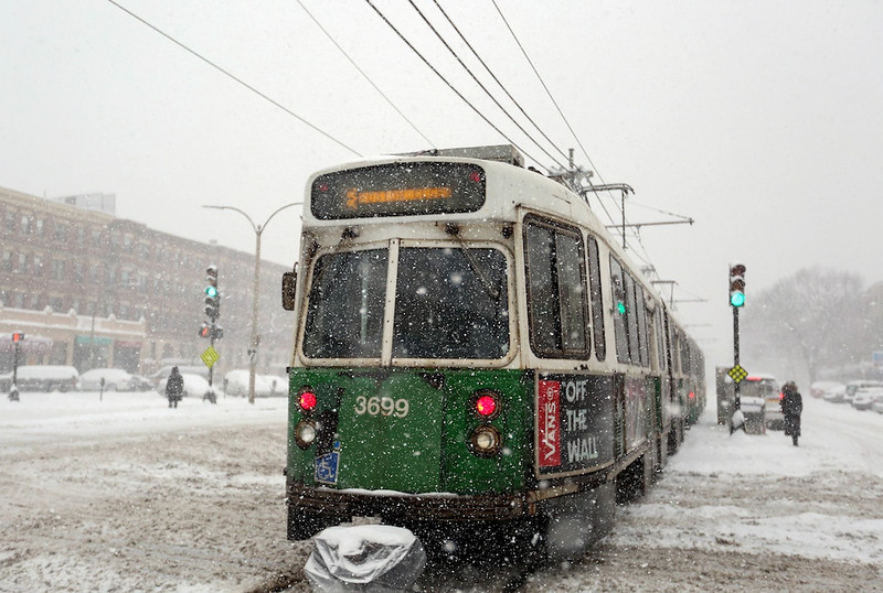 February 5, 2014 - An MBTA green line train passes through the Harvard Ave. stop in Allston, Mass. during a snow storm. Photo: Grace Donnelly/BU News Service.