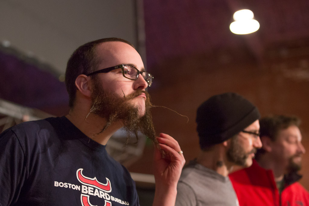 Feb. 2, 2014 - Mason Barnard from Brighton, Mass. shows off his beard to the crowd at  Beardfest, a facial hair competition in Sommerville, Mass. Photo by Justin Saglio/BU News Service.