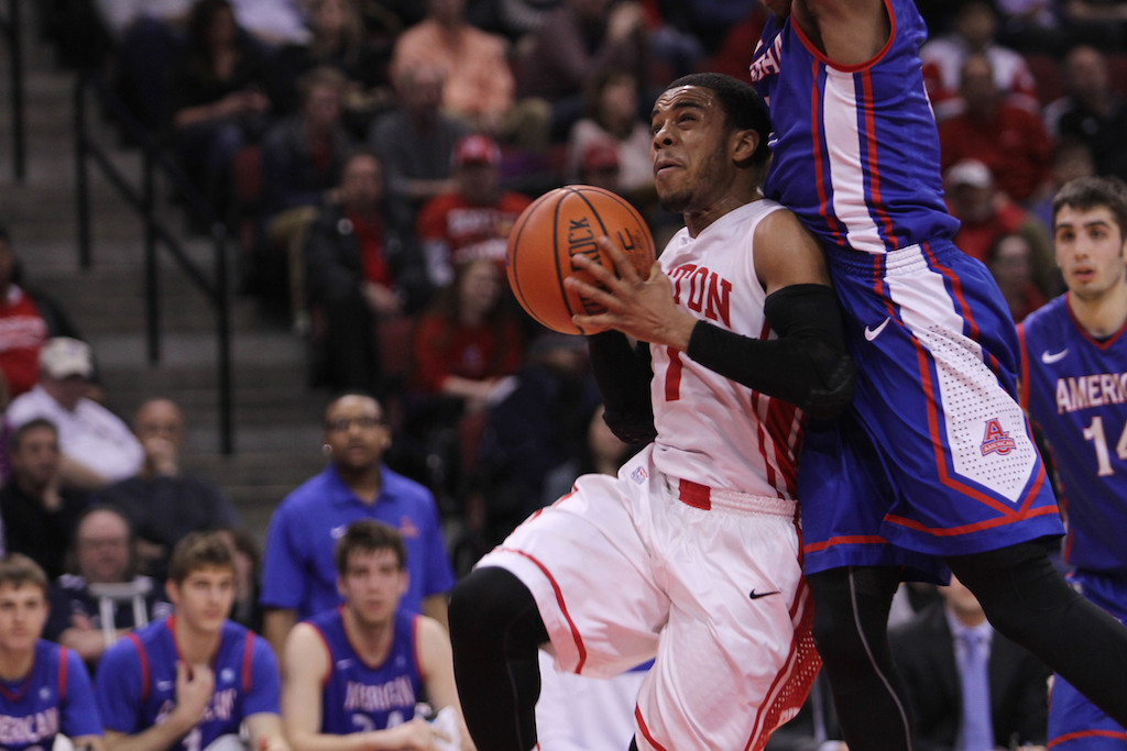 March 11, 2014 - Boston University Men's Basketball player, Maurice Watson Jr. drives to the basket during the Patriot League's Championship game at Agganis Arena in Boston, Mass. on March 11, 2014. American University men's basketball beat Boston Unviersity men's basketball 55-36. Photo by Grace Donnelly.