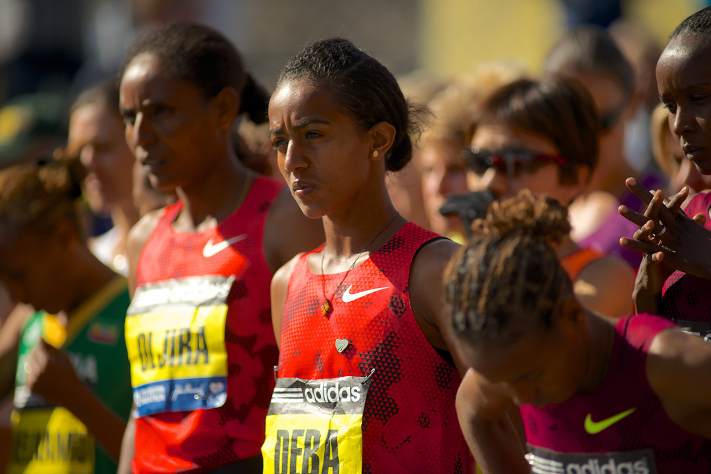 April 21, 2014 - The women's elite runners ready themselves at the starting line of the Boston Marathon in Hopkinton, Mass. Photo by Andrew Prince/BU News Service.