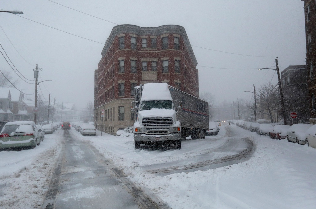 February 5, 2014 - A storage transport truck sits idle on Linden St. as a snow storm hits Boston, Mass. Photo: Grace Donnelly/BU News Service.