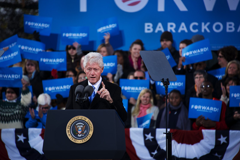 Nov. 4, 2012 – Former President Bill Clinton speaks at a grassroots rally on the Obama campaign trail at Capitol Square in Concord, N.H. on Sunday. President Obama and former President Bill Clinton teamed up to rally voters in New Hampshire who could make the difference in this year's presidential race. Photo by Cat Ring.