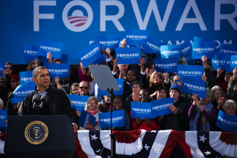 Nov. 4, 2012 – President Obama speaks at a grassroots campaign stop at Capitol Square in Concord, N.H. on Sunday. President Obama and former President Bill Clinton teamed up to rally voters in New Hampshire who could make the difference in this year's presidential race. Photo by Cat Ring.