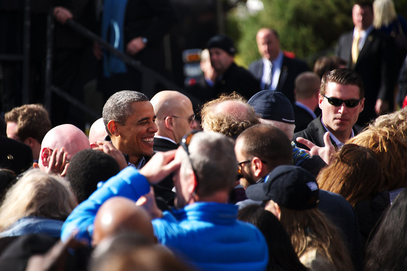 Nov. 4, 2012 – President Obama speaks with supporters at a grassroots campaign stop at Capitol Square in Concord, N.H. on Sunday. President Obama and former President Bill Clinton teamed up to rally voters in New Hampshire who could make the difference in this year's presidential race. Photo by Cat Ring.