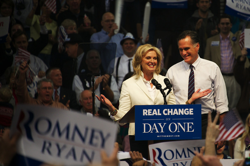 Nov. 5, 2012 – Mitt and Anne Romney welcome supporters during a campaign rally in Manchester, N.H. Monday night. Mitt and Anne Romney teamed up with Kid Rock to rally voters in New Hampshire on the eve of Election Day. Photo by Cat Ring.
