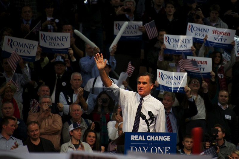 Nov. 5, 2012 – Mitt Romney waves to supporters during a campaign rally in Manchester, N.H. Monday night. Mitt and Anne Romney teamed up with Kid Rock to rally voters in New Hampshire on the eve of Election Day. Photo by Cat Ring.