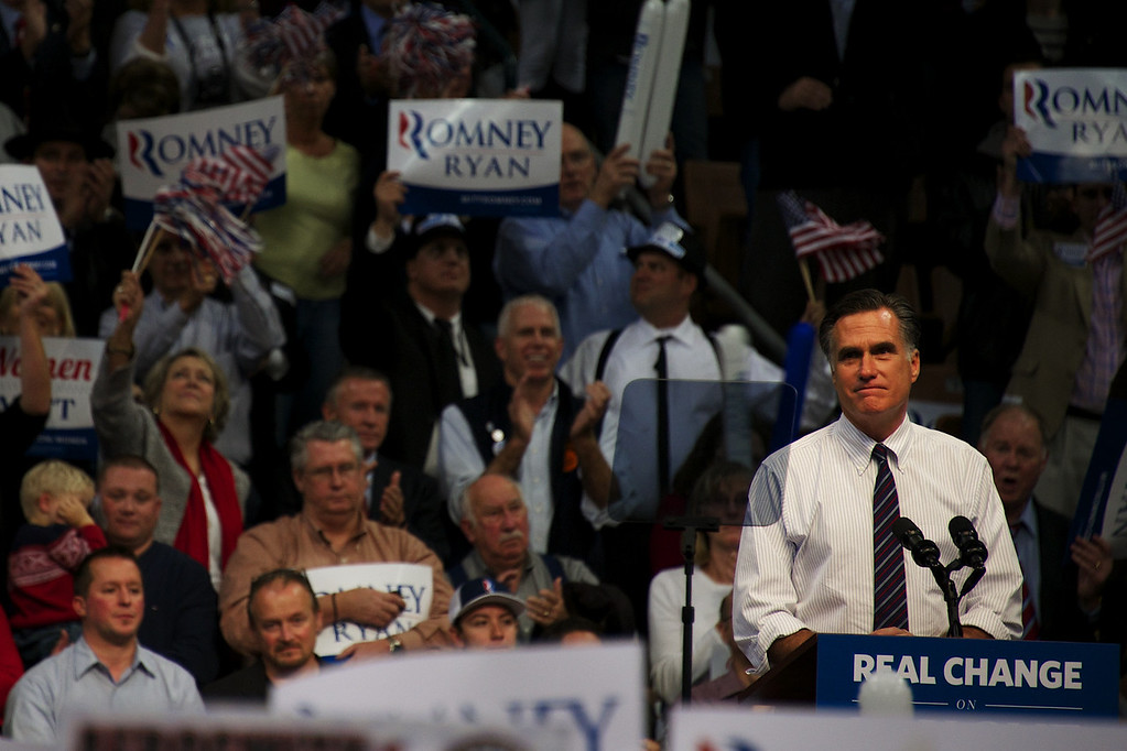 Nov. 5, 2012 – Mitt Romney speaks to supporters during a campaign rally in Manchester, N.H. Monday night. Mitt and Anne Romney teamed up with Kid Rock to rally voters in New Hampshire on the eve of Election Day. Photo by Cat Ring.