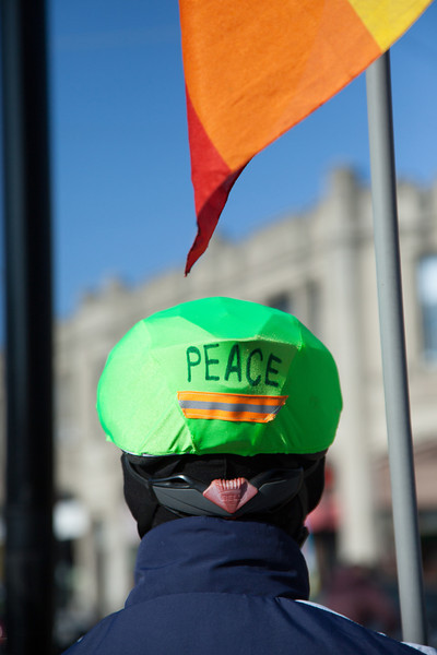 """November 17 2012 - Irv Kurki of Brookline, MA participates in a weekly Peace Vigil held at the Coolidge Corner intersection in Brookline on Saturday. """"We try to be a presence for peace as much as we can,"""" said Kurki. The group has been actively protesting since the beginning of the Iraq War in 2003. Photo by Alexa Gonzalez Wagner."""