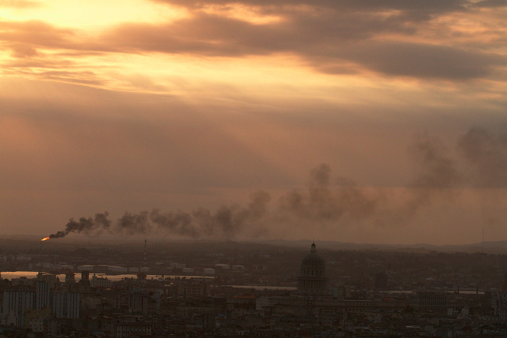Havana on March 26, 2013. Oil from the city's main refinery burns 24 hours a day. (Photo by: Michael Cummo)