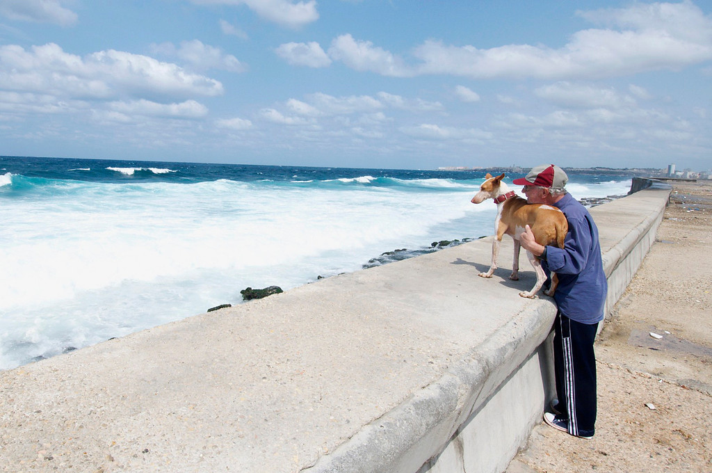 A man and his dog sit watching the waves break in Havana on March 26, 2013. (Photo by: Michael Cummo)