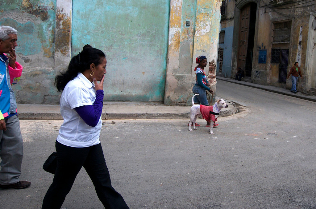 A woman walks her dog down the street of Matanzas, Cuba on March 27, 2013. (Photo by: Michael Cummo)