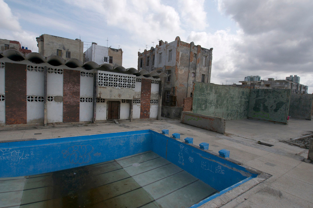 What used to be a pool sits next to the Parque Jose Marti Stadium in Havana, Cuba on March 26, 2013. (Photo by: Michael Cummo)