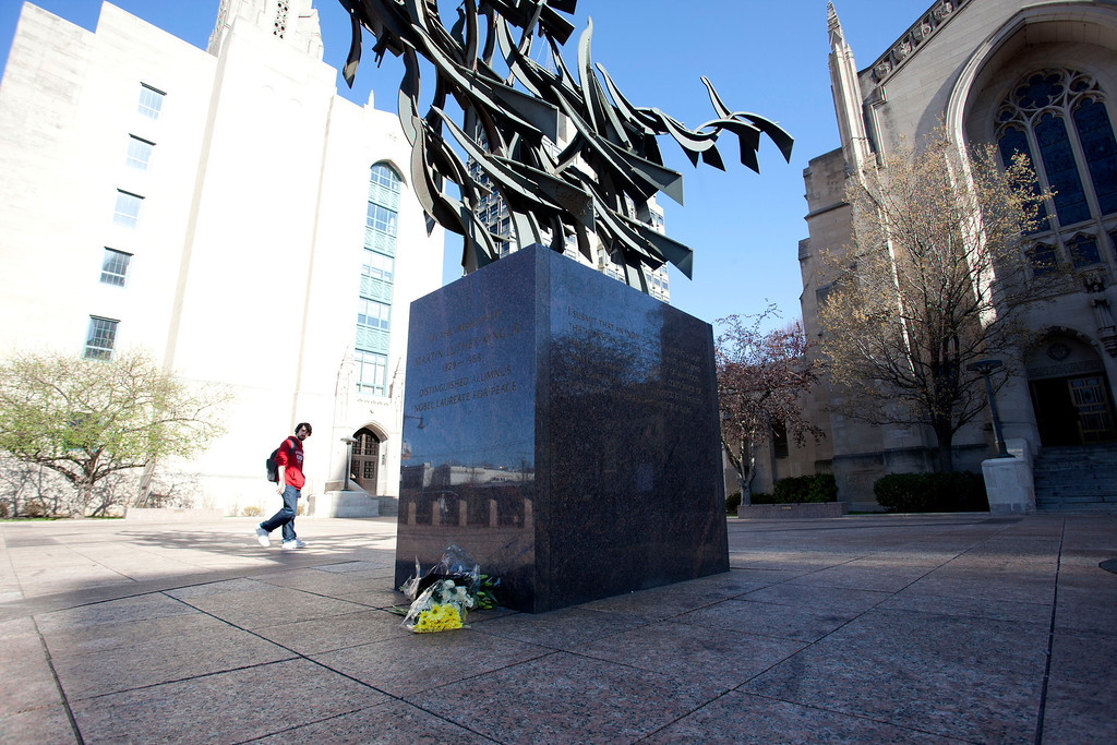 April 17, 2013: flowers are left in Boston University's Marsh Plaza for the BU student who was one of three victims of the Boston Marathon Bombing. (Photo by: Michael Cummo)