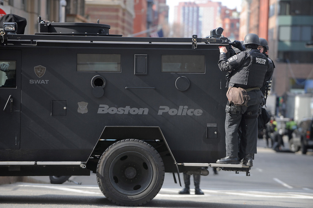 Boston, MA, April 15, 2013: Two explosions went off in Copley Square, directly after the finish line of the Boston Marathon. Photo by: Michael Cummo