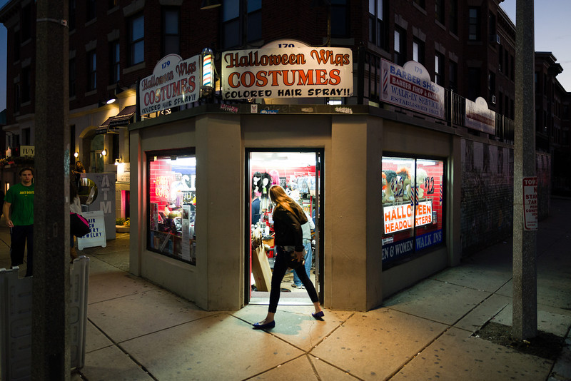 October 25, 2012 - Fast Eddie's Barber Shop, owned by Arlington resident Richard Lamoretti, sits at the corner of Harvard Avenue and Glenville Terrace in Allston. The cuttery began selling Halloween costumes in addition to wigs about ten years ago and now sells them year-round. Lamoretti's grandfather Edward Marotta started the business in 1935. Photo/Christopher Weigl