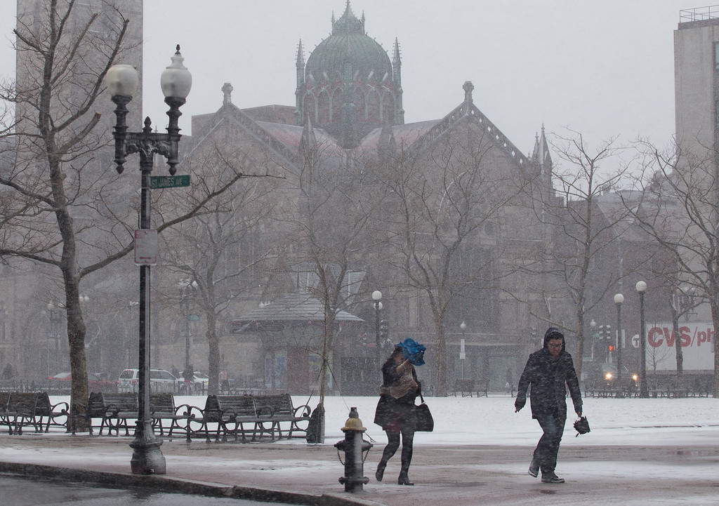 Febrary 8, 2013 - People hurried to their destinations around the Copley Square area in downtown Boston as the blizzard began to hit on Friday afternoon. Photo by Alexa Gonzalez Wagner.