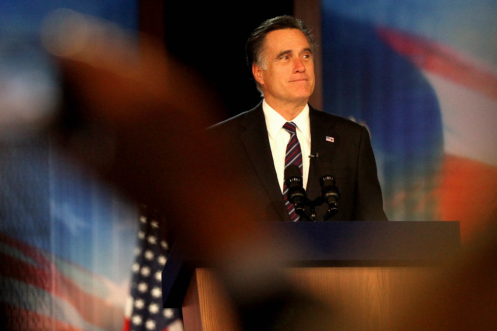 Nov. 6, 2012 - Losing Presidential candidate Mitt Romney delivers his concession speech to an audience of Republican supporters on the ballroom floor in the Boston Convention Center, the site of the Romney-Ryan election night headquarters. Photo by Billie Weiss.