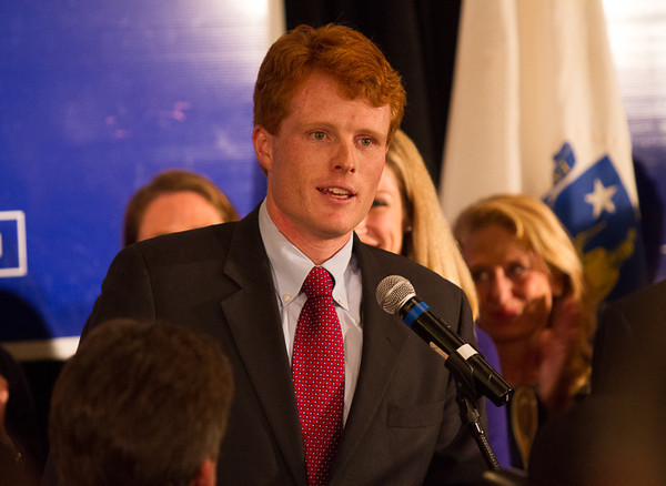 November 6 2012 - Joe Kennedy gives his victory speech after winning a seat in the US House of Representatives on Tuesday night at the Marriot in Newton MA. Photo by Alexa Gonzalez Wagner.
