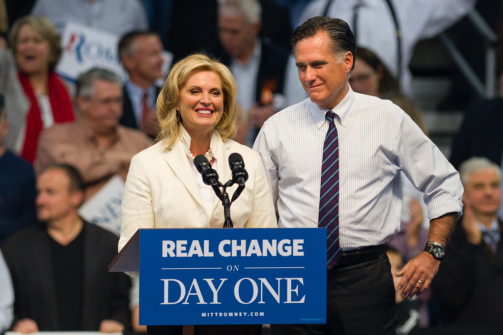 November 5, 2012 - Anne Romney addresses the crowded Verizon Wireless Center in Manchester, NH, as presidential hopeful Mitt Romney looks on during Romney's Final Victory Party the night before election day.. Romney went on to lose the election to President Barack Obama. Photo/Christopher Weigl
