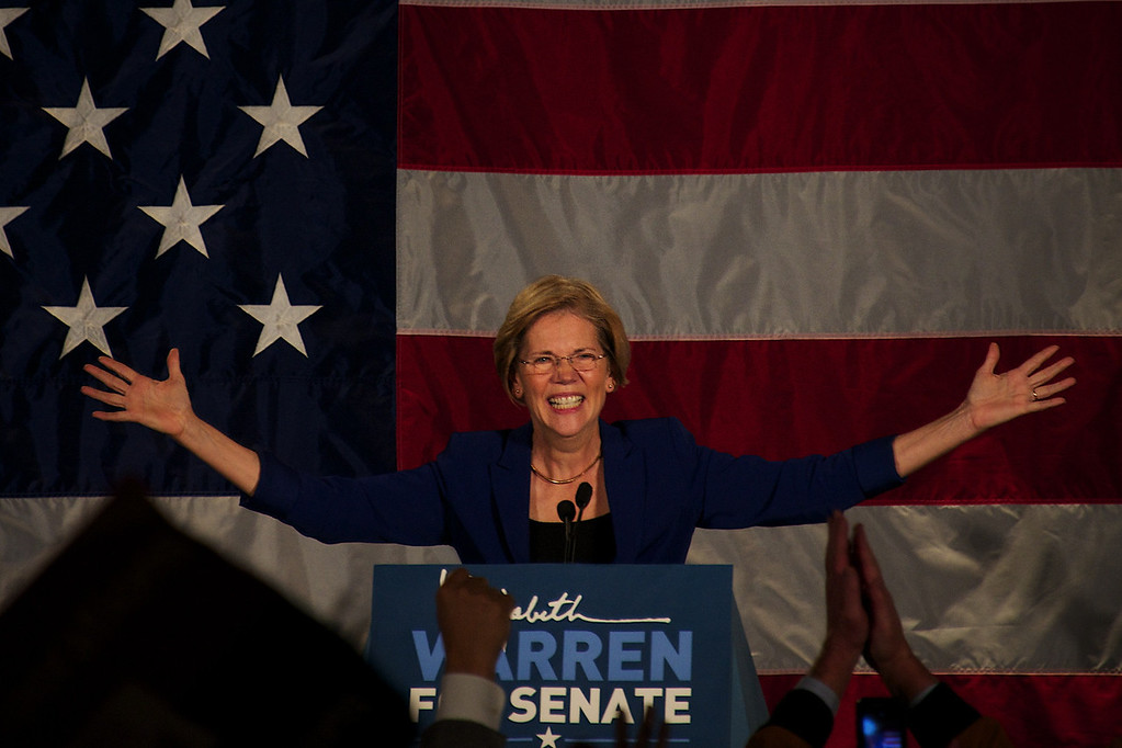 Nov. 6, 2012 - Elizabeth Warren gives her victory speech to supporters in Boston on Tuesday night. Warren was elected the first woman senator in the state of Massachusetts. Photo by Cat Ring.