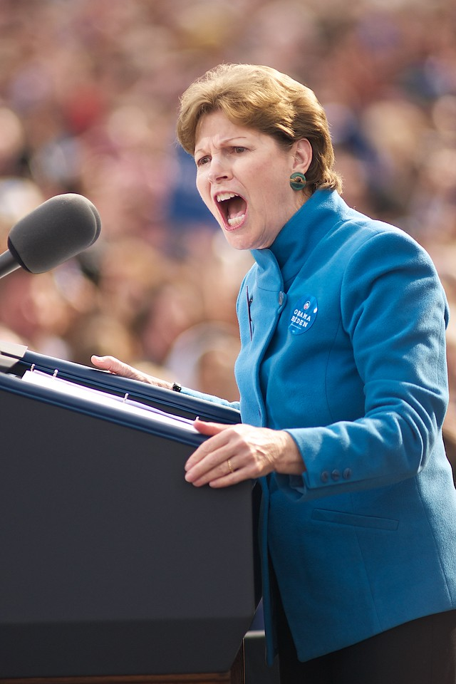 Oct. 27, 2012- Democratic Senior Senator of New Hampshire, Jeanne Shaheen, opened for President Barack Obama, who made a campaign stop in Nashua, NH at Elm Street Middle School, to a crowd of 8,500, according to White House sources. Photo by: Jasmin Bleu Pellegrino