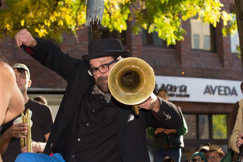 Brass Messenger band leader dances