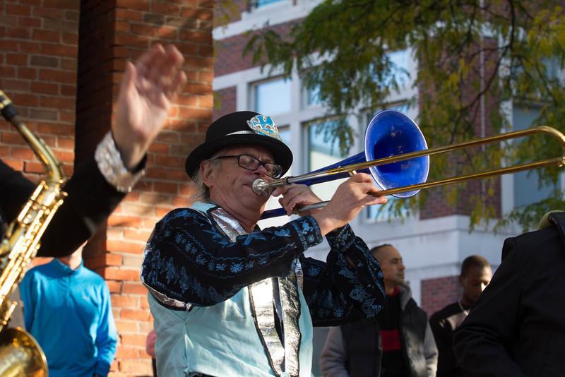Blue Trombone player