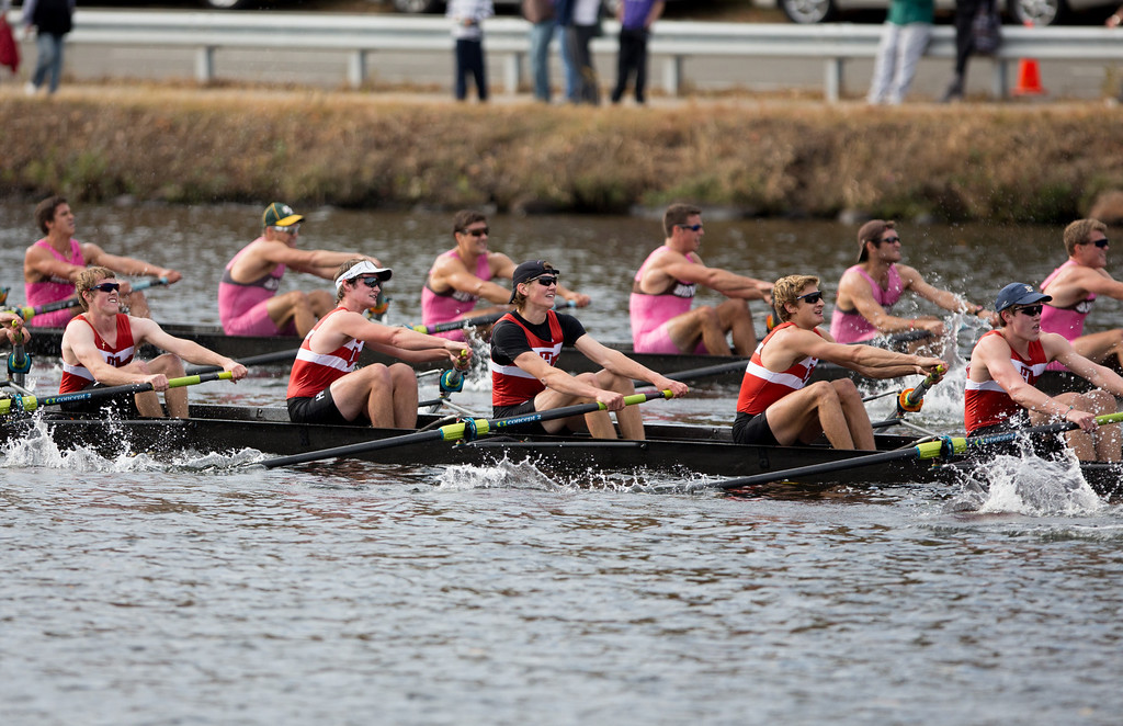 Oct. 19, 2013 - Teams of rowers vie for position in the final feet of a race in the Head of the Charles regatta, an annual series of rowing contests on the Charles river in Boston, Mass.