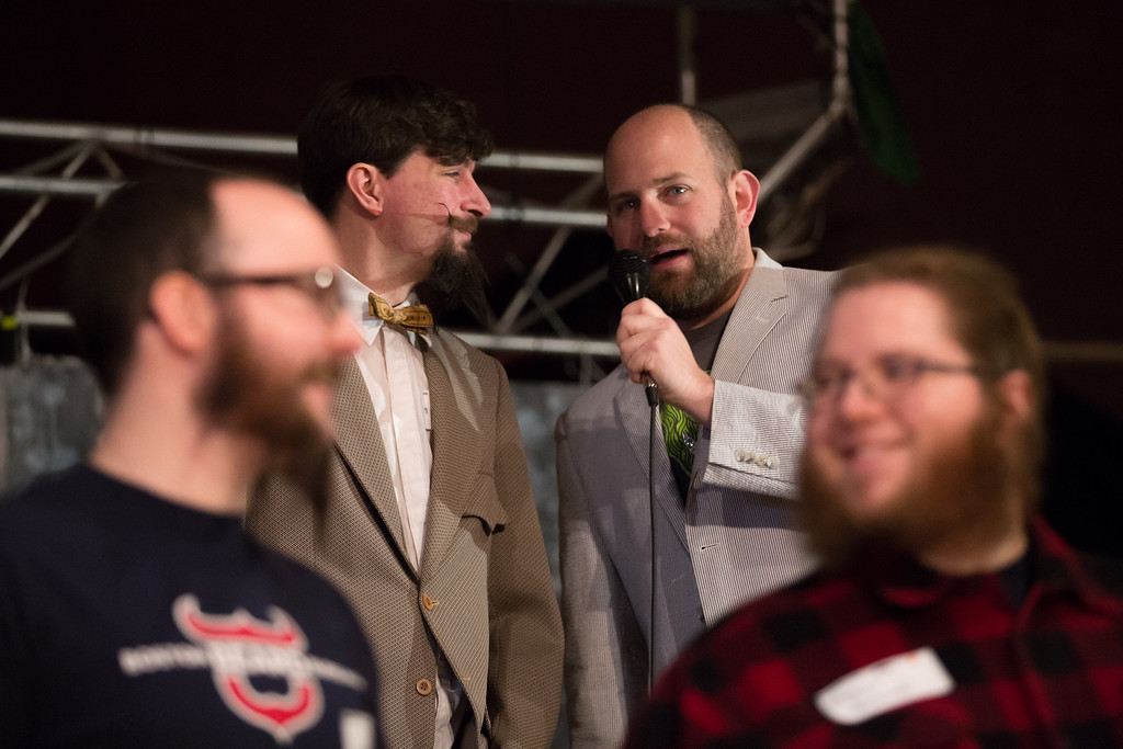 Feb. 2, 2014 - Competitors have their beards judged during competition at Beardfest, a facial hair competition in Sommerville, Mass. Credit: Justin Saglio