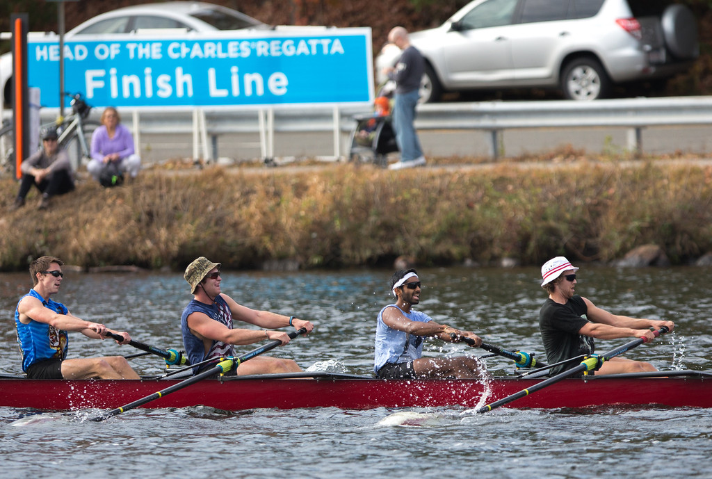 Oct. 19, 2013 - Members of Boston University's crew team near the finish line of a 3-mile race at the Head of the Charles regatta, an annual series of rowing contests on the Charles river in Boston, Mass.