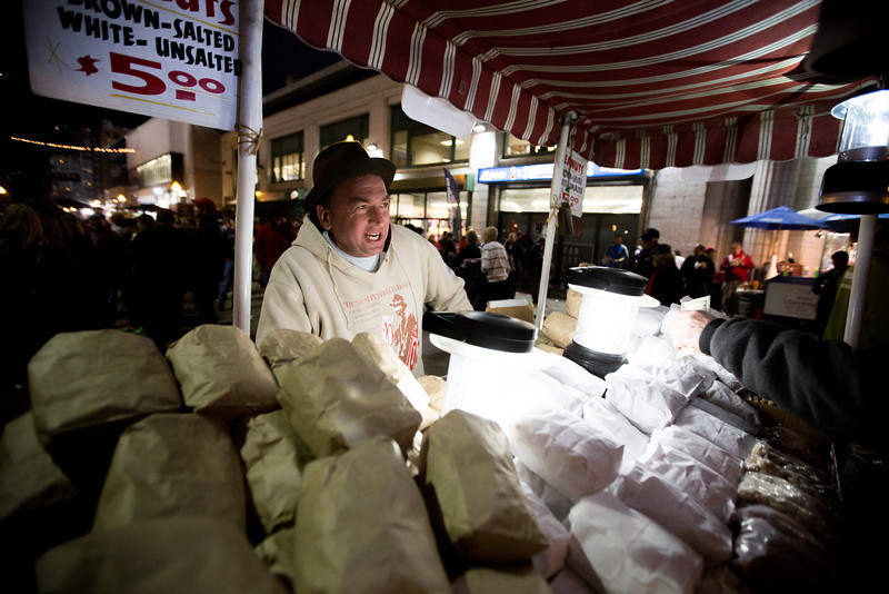 Oct. 23, 2013 - Eddie O'Brien sells peanuts outside Fenway Park before game one of the World Series in Boston.  Photo by Justin Saglio