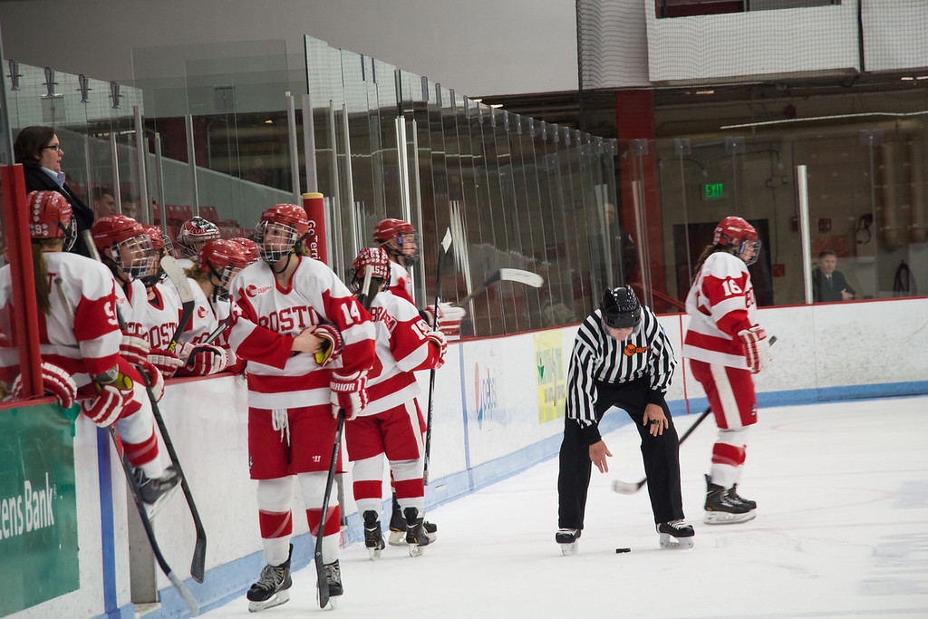 Boston, March 1, 2014 -- Boston University's women's hockey team switches on-ice players during the East Quarterfinals against Providence College. The game was held at Boston University's Walter Brown Arena in Boston, MA. BU won 3-2. Photograph by Carolyn Bick. © Carolyn Bick/BUNS 2014.