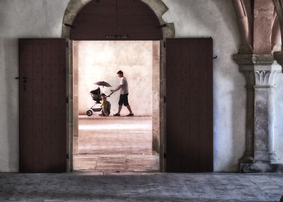 Father with stroller at Trappist Monastery in Burgundy