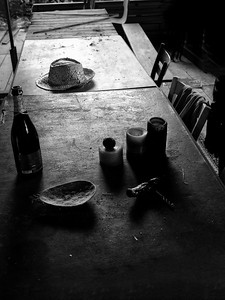 Hat on table in 18th century Chateau