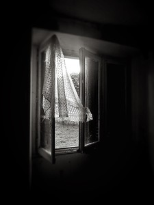 Curtain in abandoned building in Burgundy