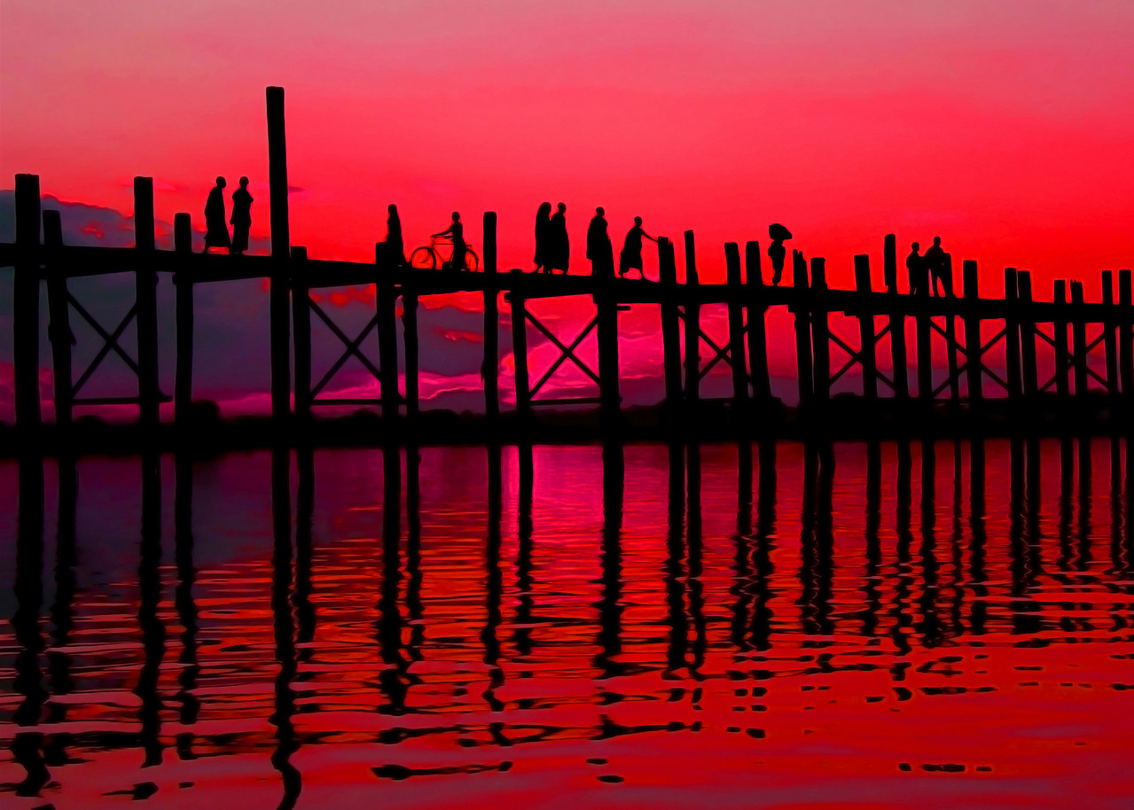 SUNSET AT U BEINS BRIDGE - AMARAPURA