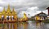 Inle Lake. Phaung Daw U Pagoda Annual Festival -  replica of a royal barge designed as a hintha bird