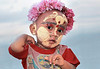 Mandalay, Child with thanaka makeup paste for sun protection